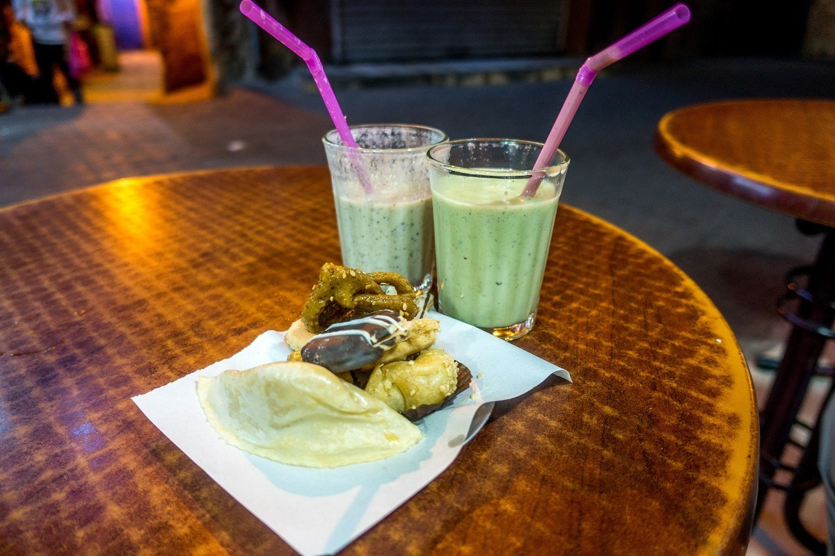Avocado and date smoothies and pastries are a perfect end to a Marrakech food tour in Morocco