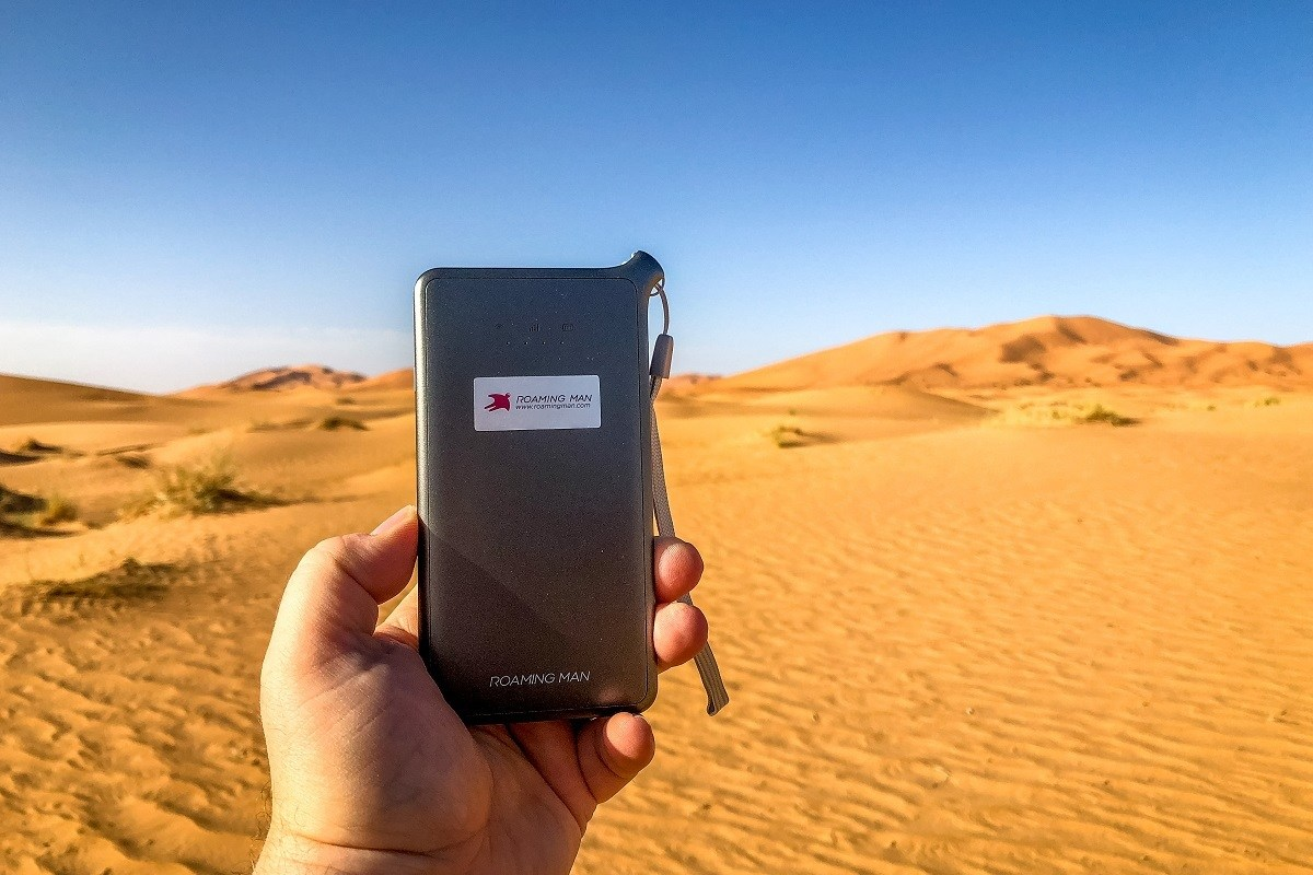 ROAMING MAN mobile wifi device in the Sahara Desert.