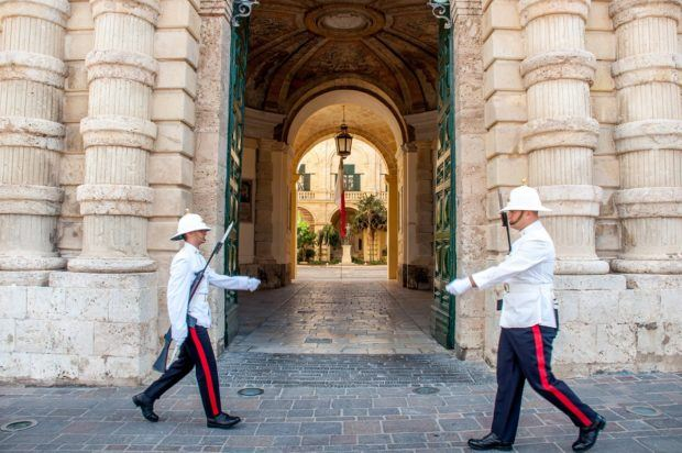 The guards in St. George's Square in Valletta, one of the top Malta sights