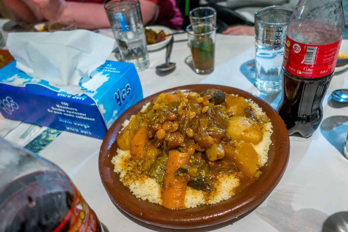 Traditional couscous and tfaya is a highlight of a Marrakech food tour in Morocco