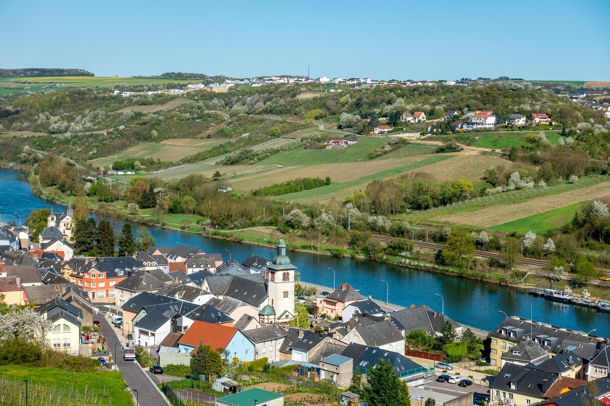 Overhead view of town and the Moselle River