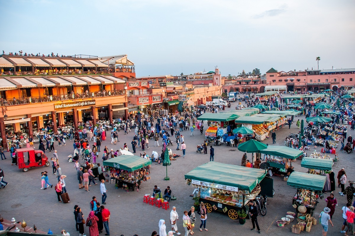 Overhead view of vendors in Jemaa el Fnaa square in Marrakech