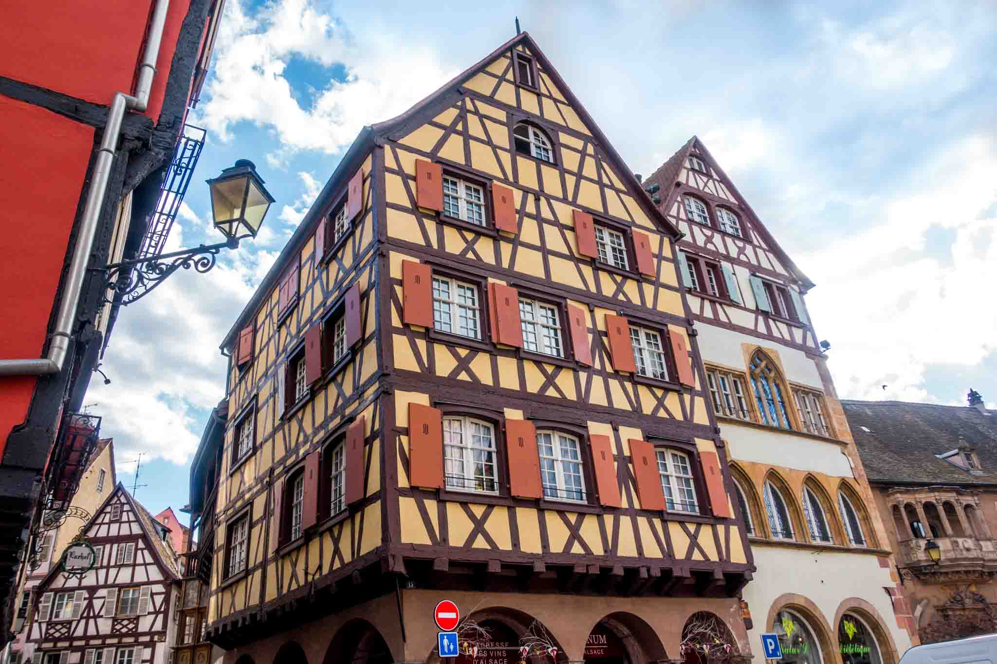 Adolph House, a large white and yellow half-timbered house