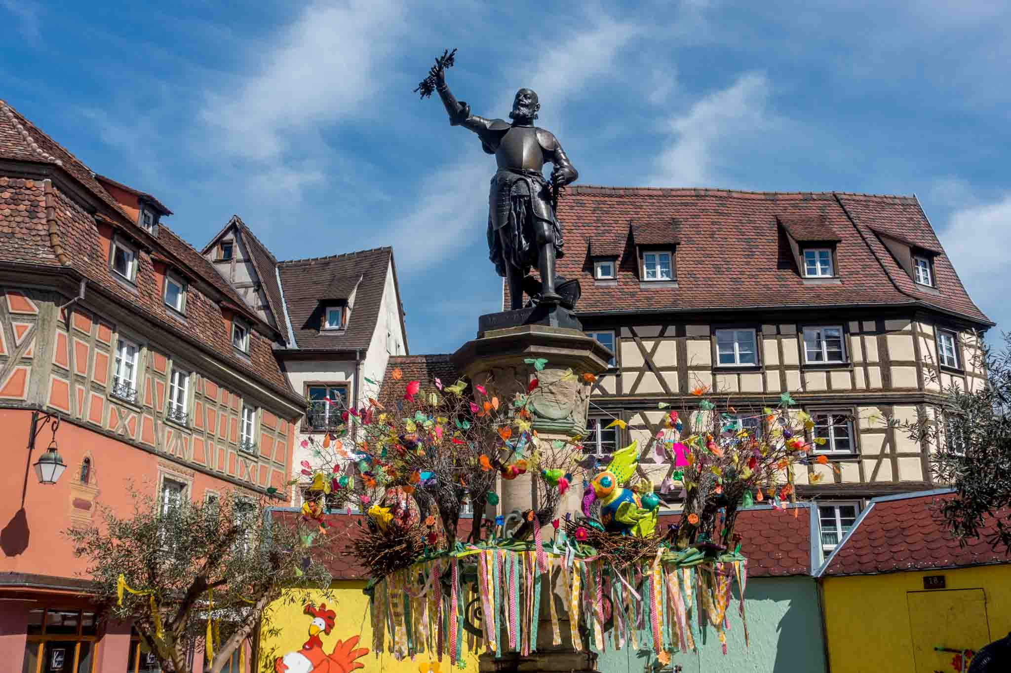 The Schwendi fountain in Colmar, France, decorated for Easter