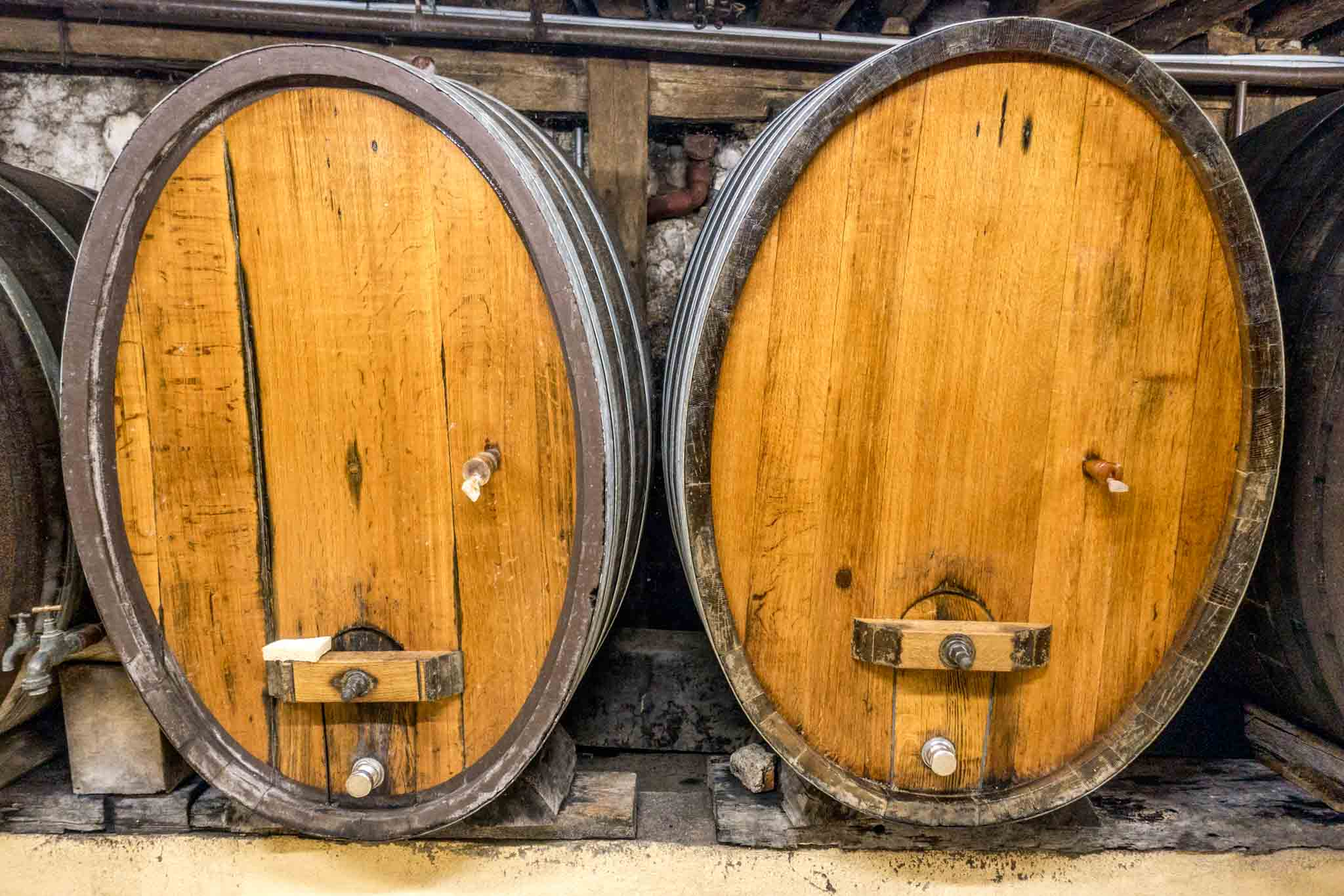 Alsatian wines have been aged in barrels like this for decades. Visit a local winery on your Colmar, France trip.