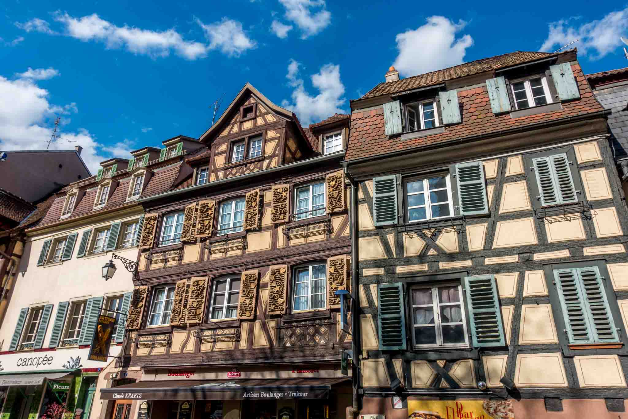 Half-timbered buildings dominate the architecture of Colmar, Alsace France, a town influenced by both Germany and France