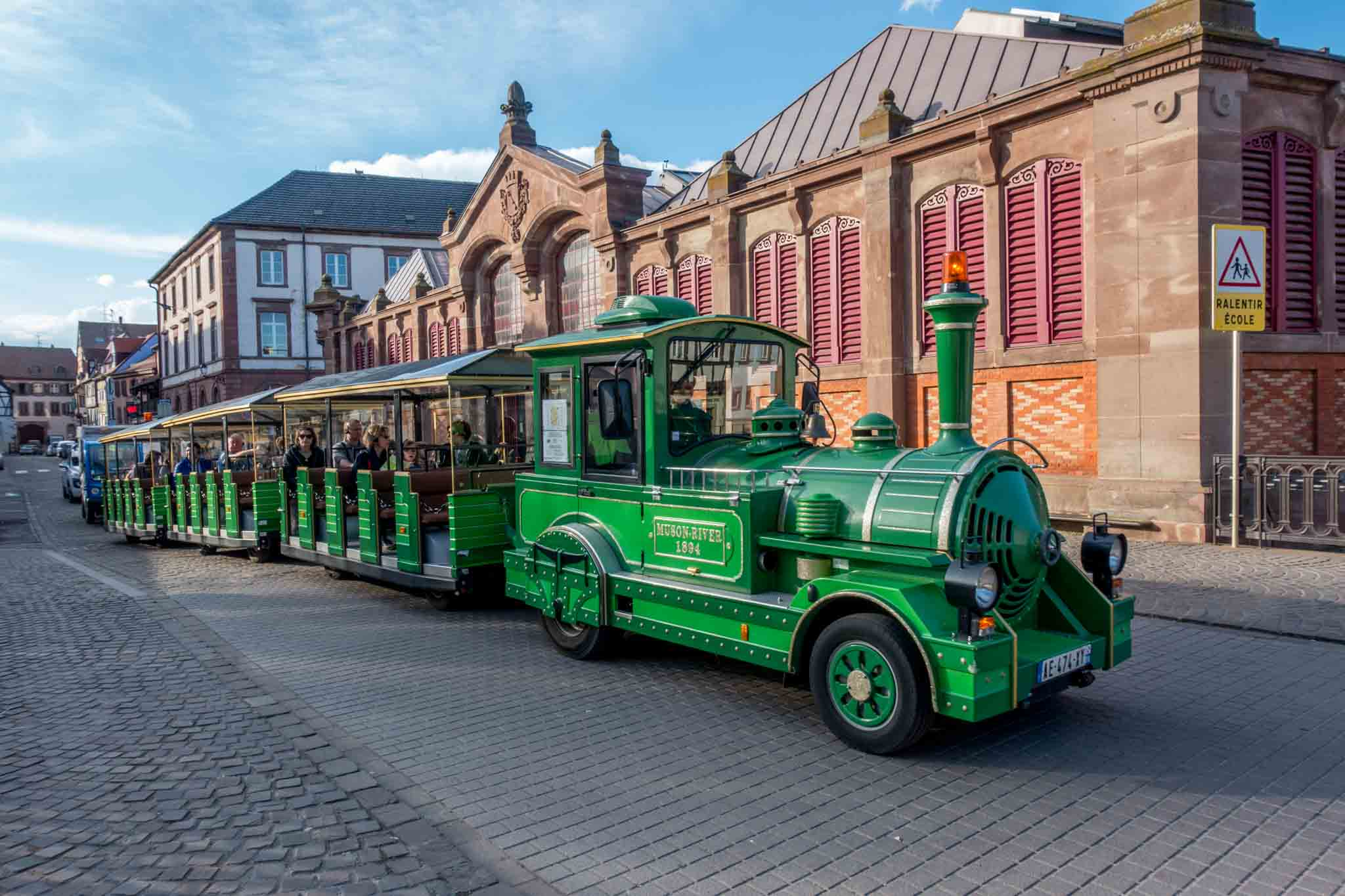 The small green or white trains will take you to visit the Colmar tourist attractions