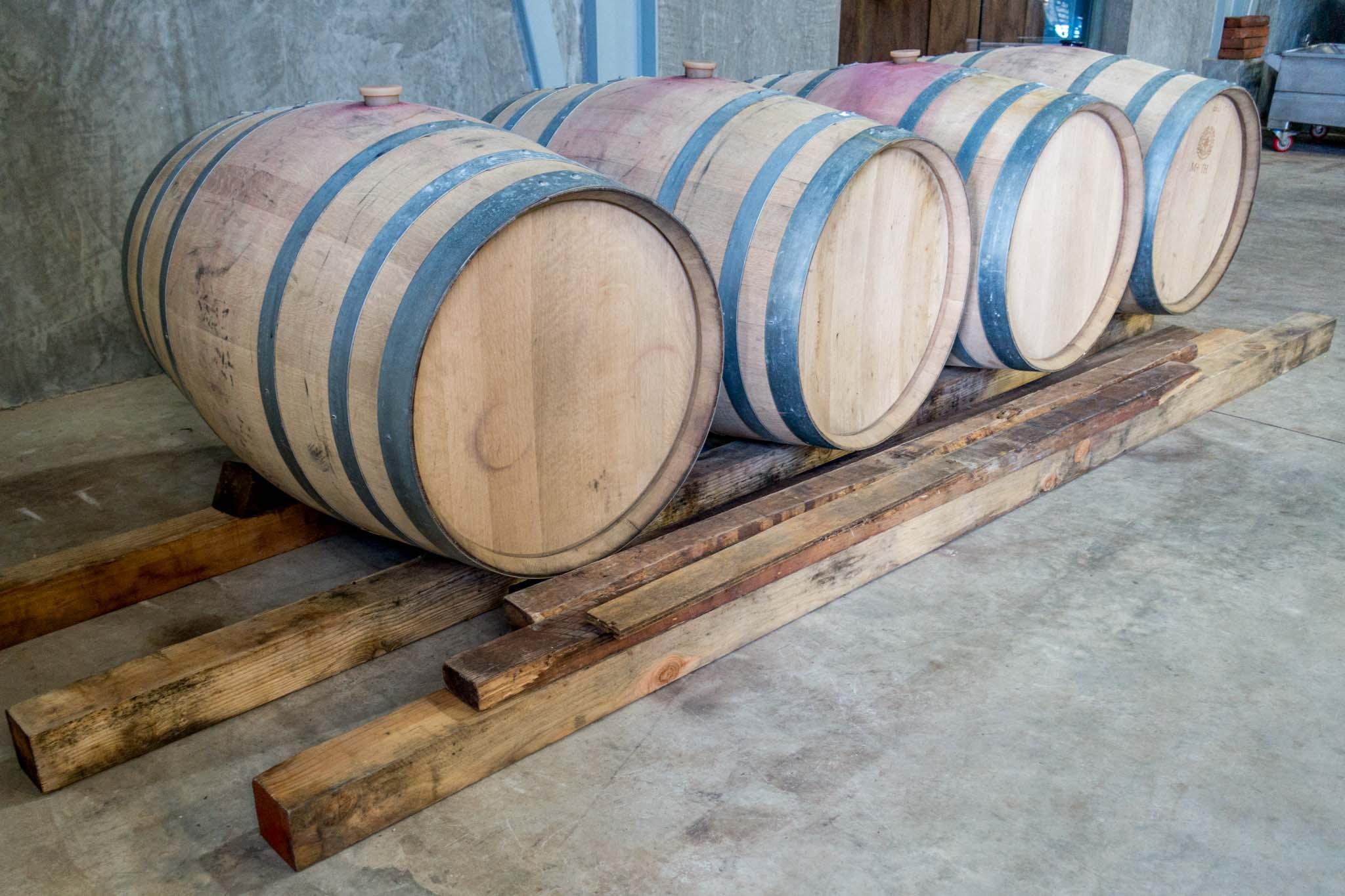 Aging barrels at Finca la Carrodilla in the Ensenada wine country.