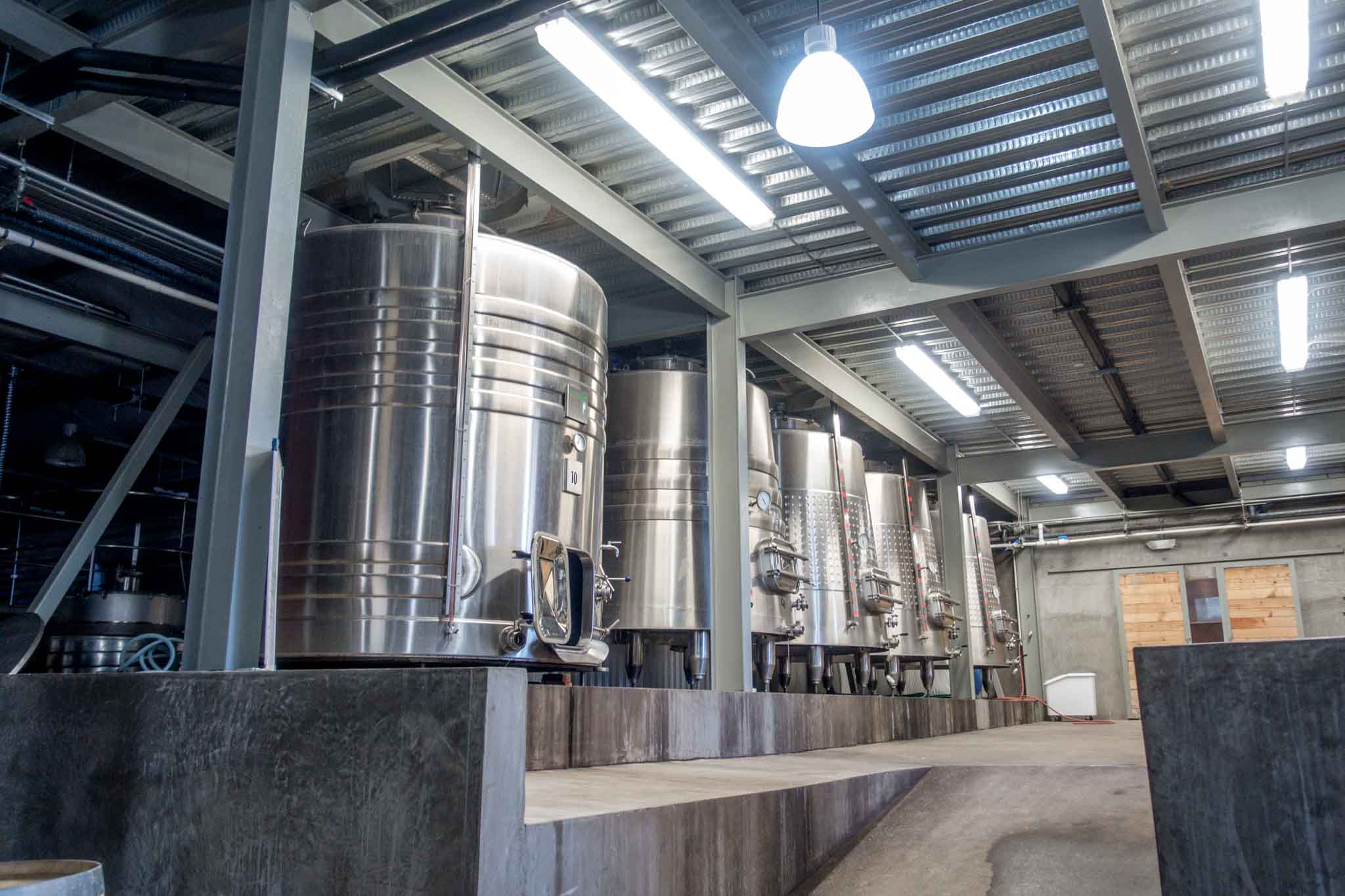 Steel production tanks at a winery