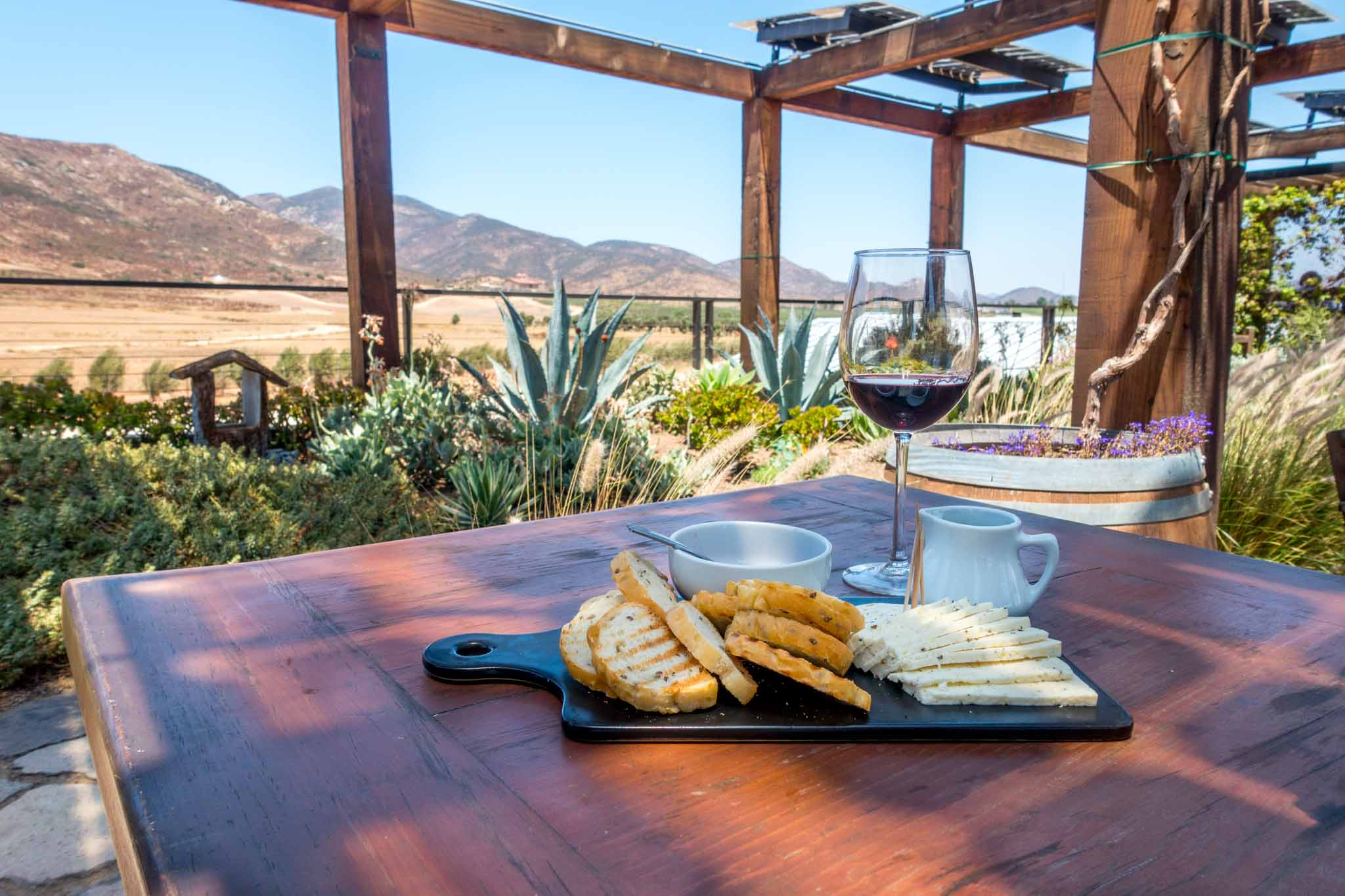 Enjoying the wines in the Valle de Guadalupe Mexico at Finca la Carrodilla winery