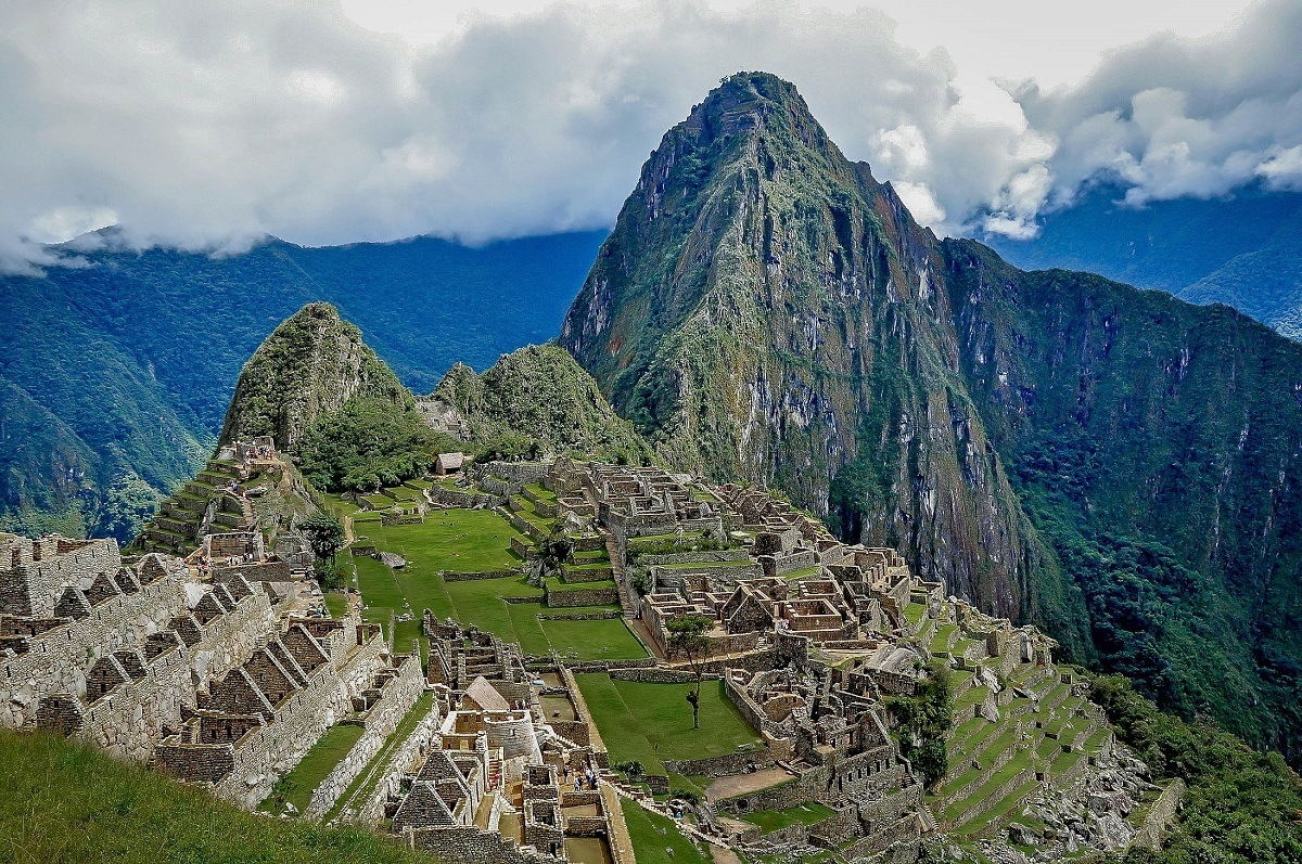 Overhead view of Machu Picchu ruins and mountain peak