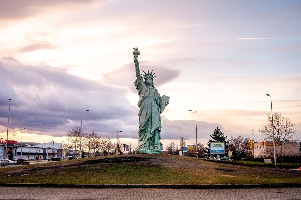 Replica of the Statue of Liberty in a roundabout in Colmar, France