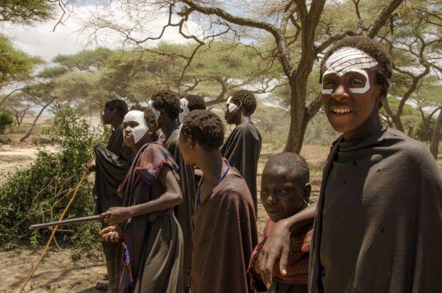 Young Maasai boys, Ngorongoro Crater in Tanzania.