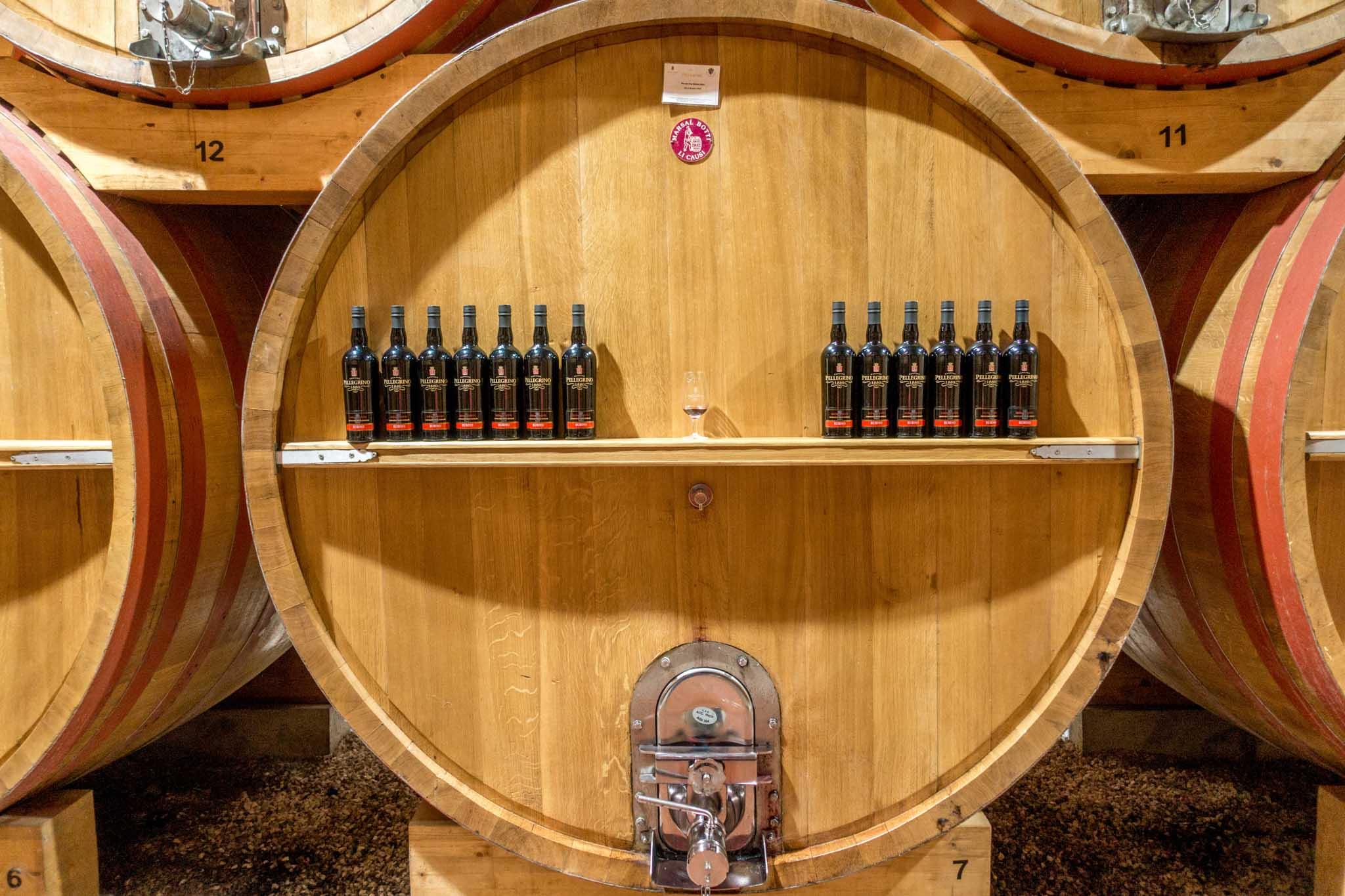 Marsala wine bottles on a shelf
