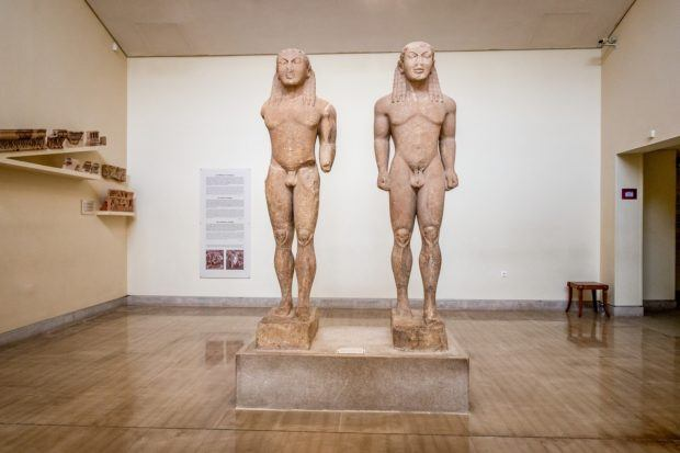 The Cleobis and Biton statues in the Delphi Archaeological Museum - this is one of the many impressive artifacts from Delphi ancient Greece.