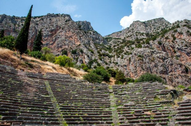The Delphi Amphitheater with Mount Parnassus in the background.  We didn't realize how much hiking and climbing we would need to do on our Athens Delphi day trip.