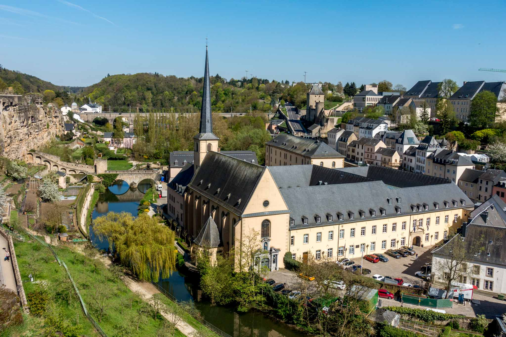 View of buildings and river in a valley in Luxembourg City