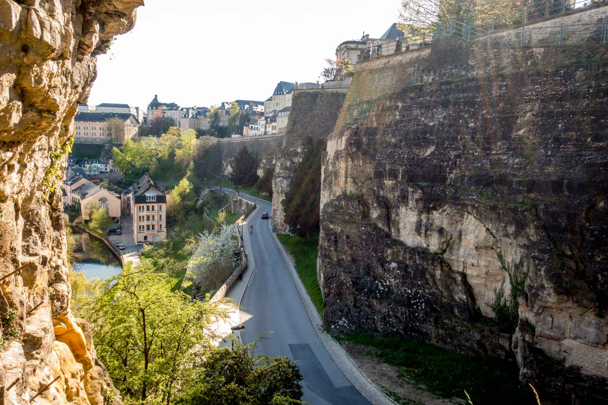 Looking out from the Casemates du Bock over Luxembourg City. These old tunnels are one of the more unique Luxembourg attractions.
