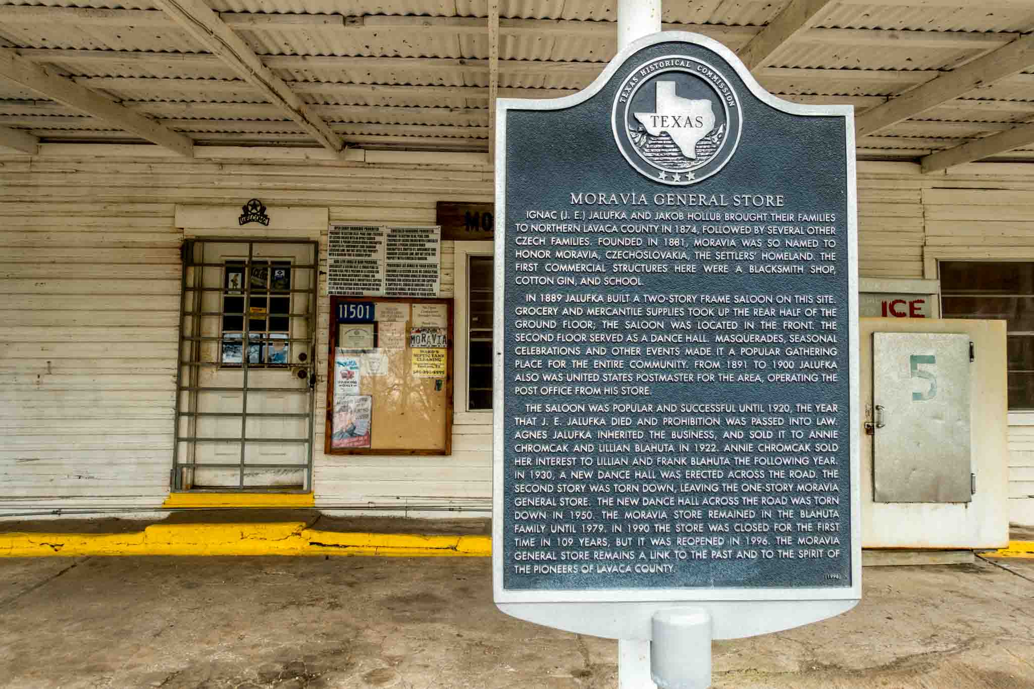 Historical marker for the Moravia, Texas, general store