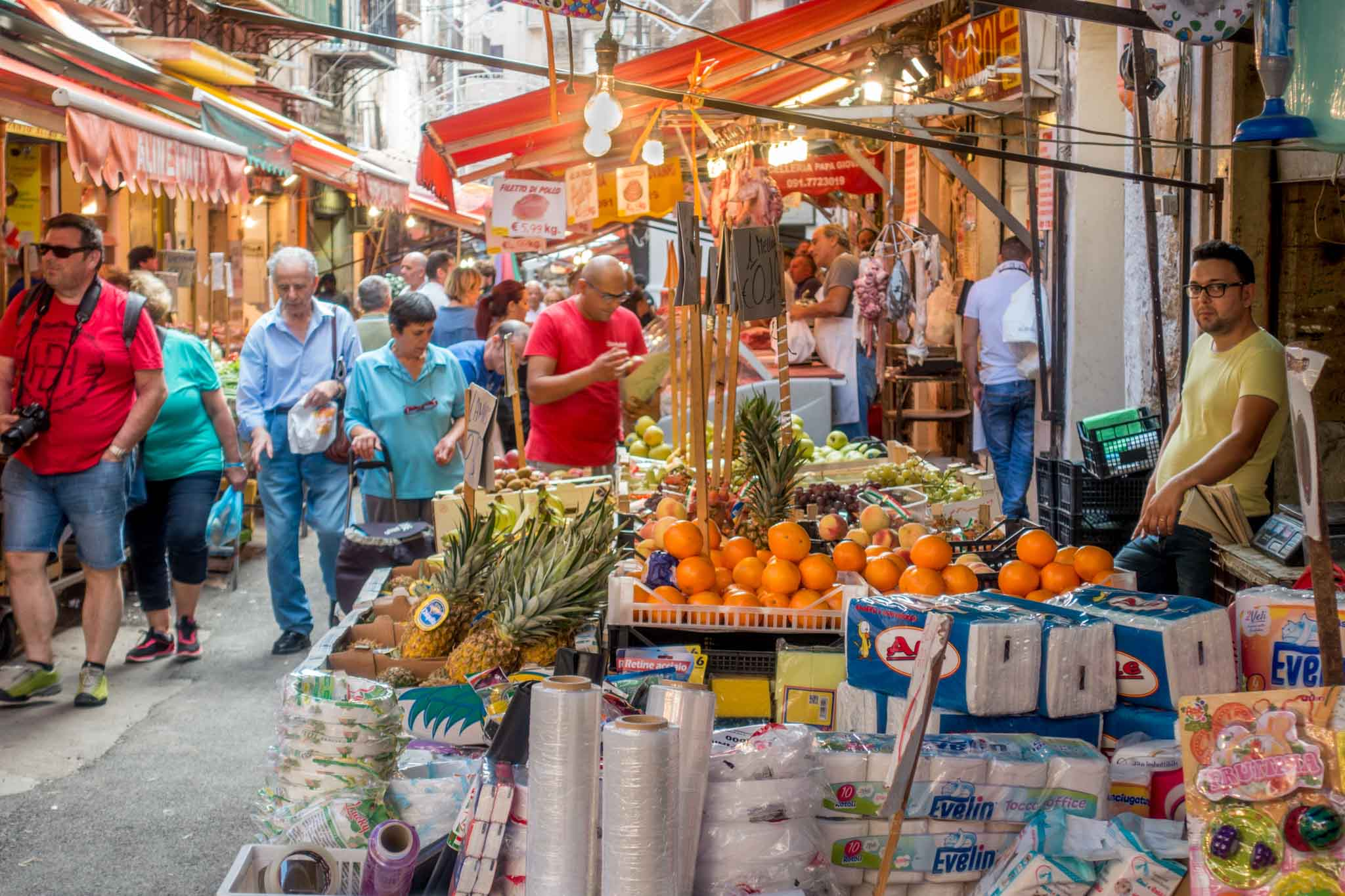 Food and vendors at the Ballaro market in Palermo
