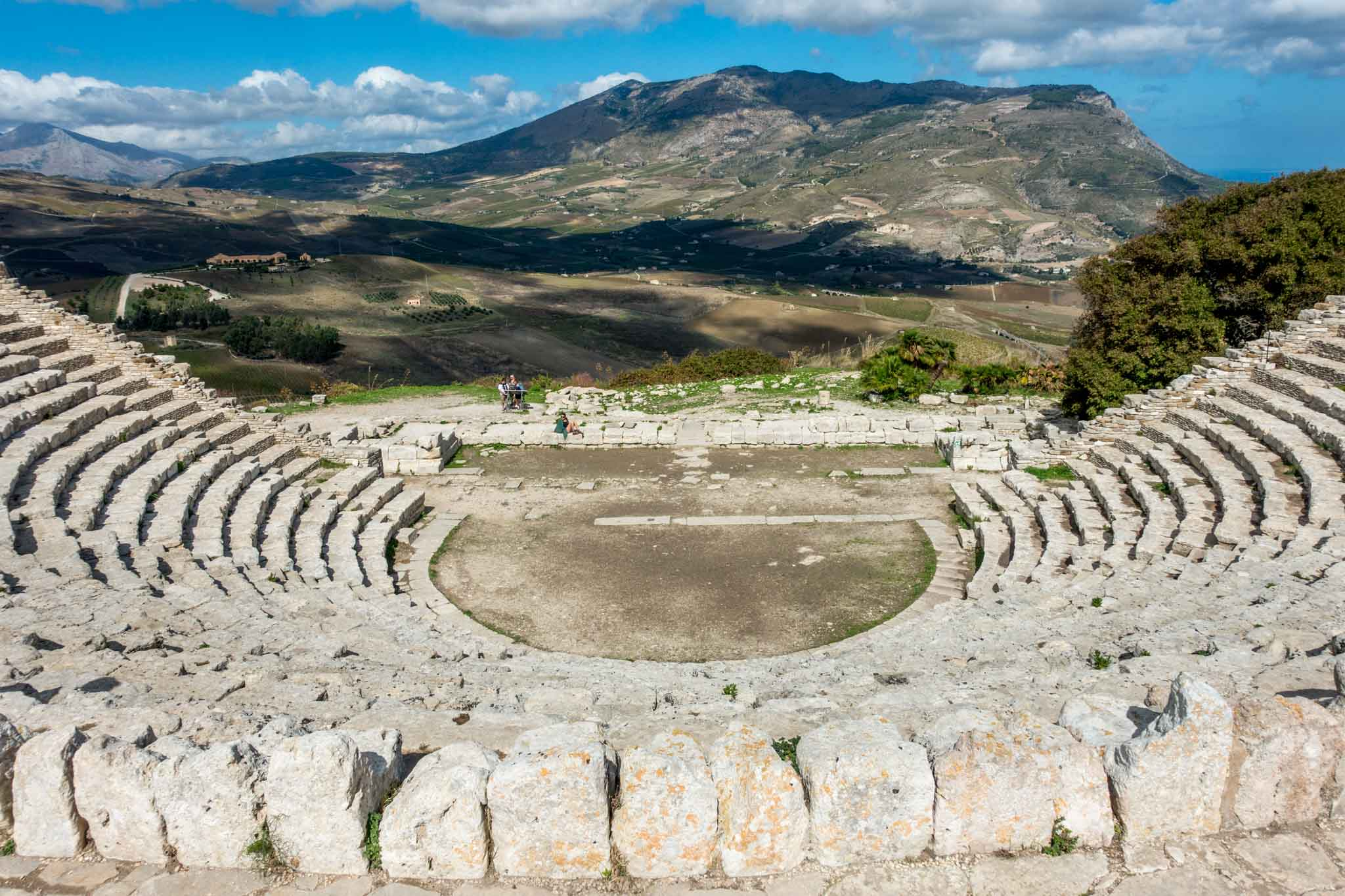 View of mountains and valley from the Segesta amphitheater in Sicily