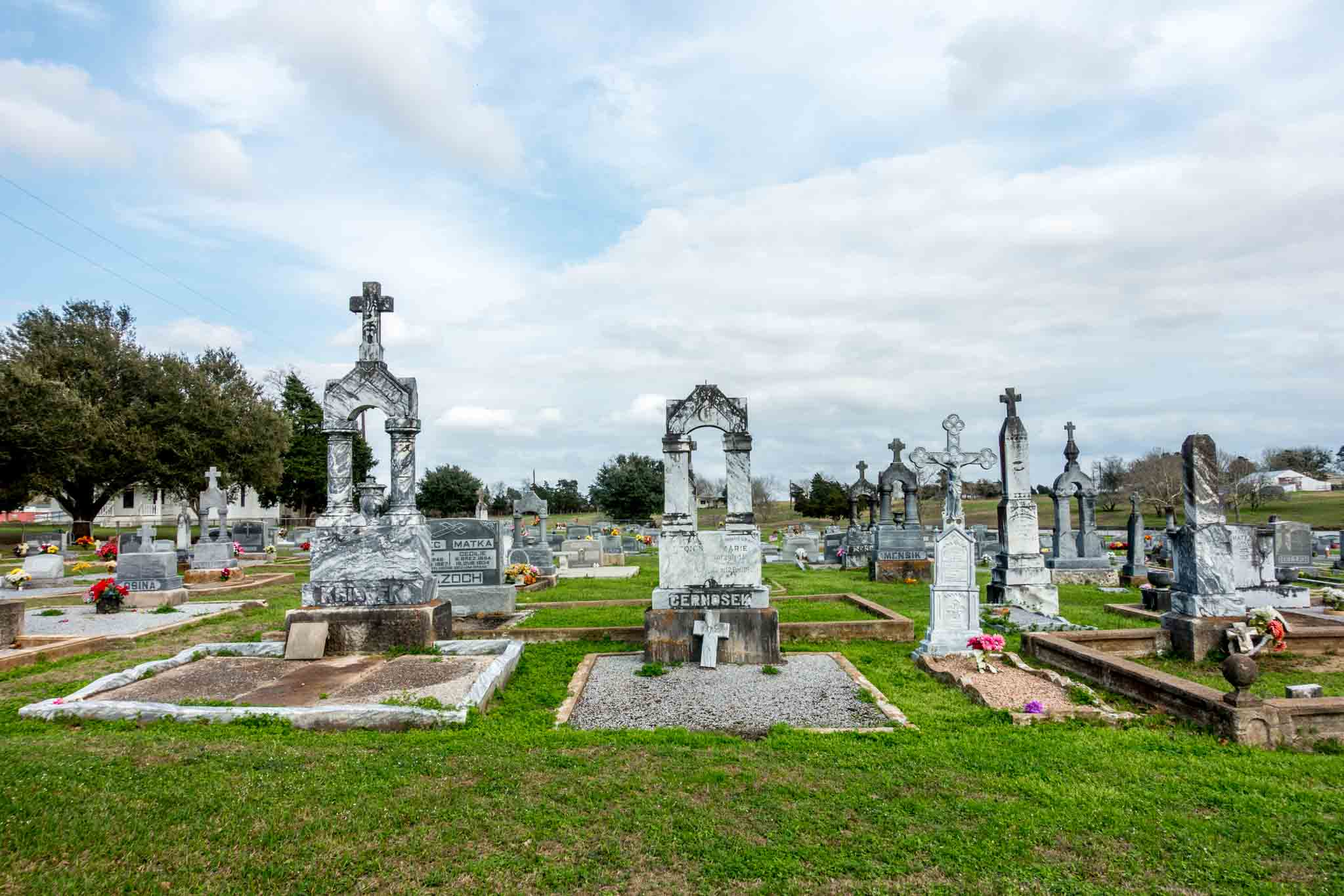 Cemetery for residents in Ammannsville TX adjacent to St. John the Baptist, one of the painted churches Texas