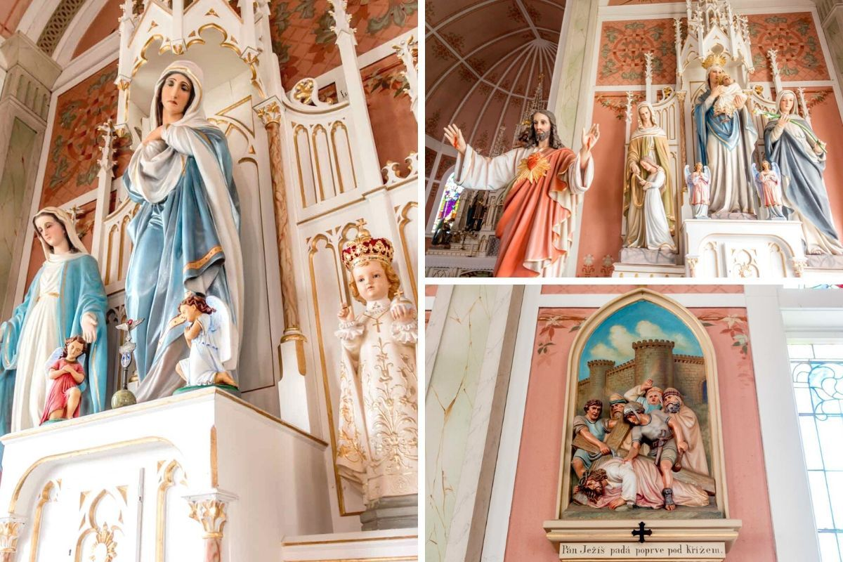 Details of the interior of St. John the Baptist, a Hill Country church painted by Czech and German immigrants