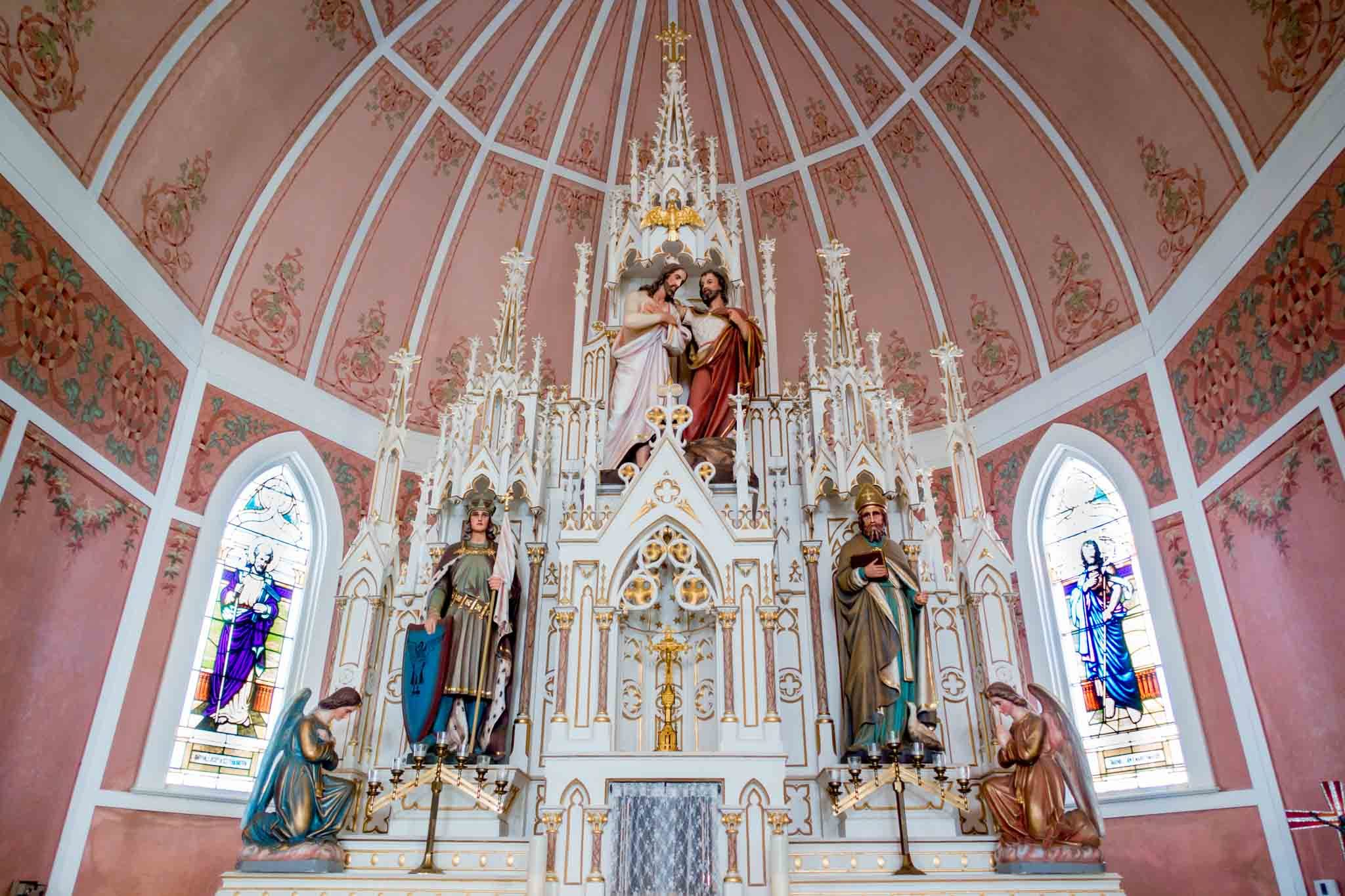 The altar of St. John the Baptist in Ammansville, one of the painted churches of Texas