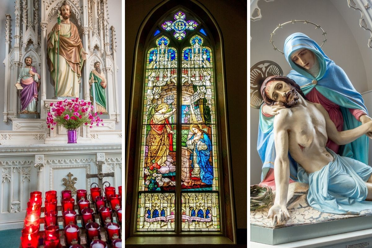 Details like statues and stained glass from the interior of St. Mary's Catholic Church in Frederickburg TX