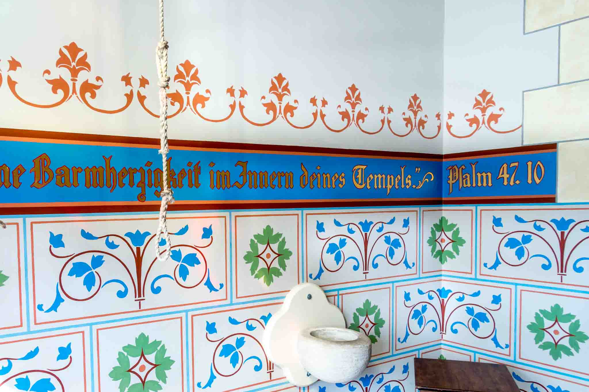 Bible verses in German in the vestibule of St. Mary's Catholic Church, one of the Texas painted churches Schulenburg