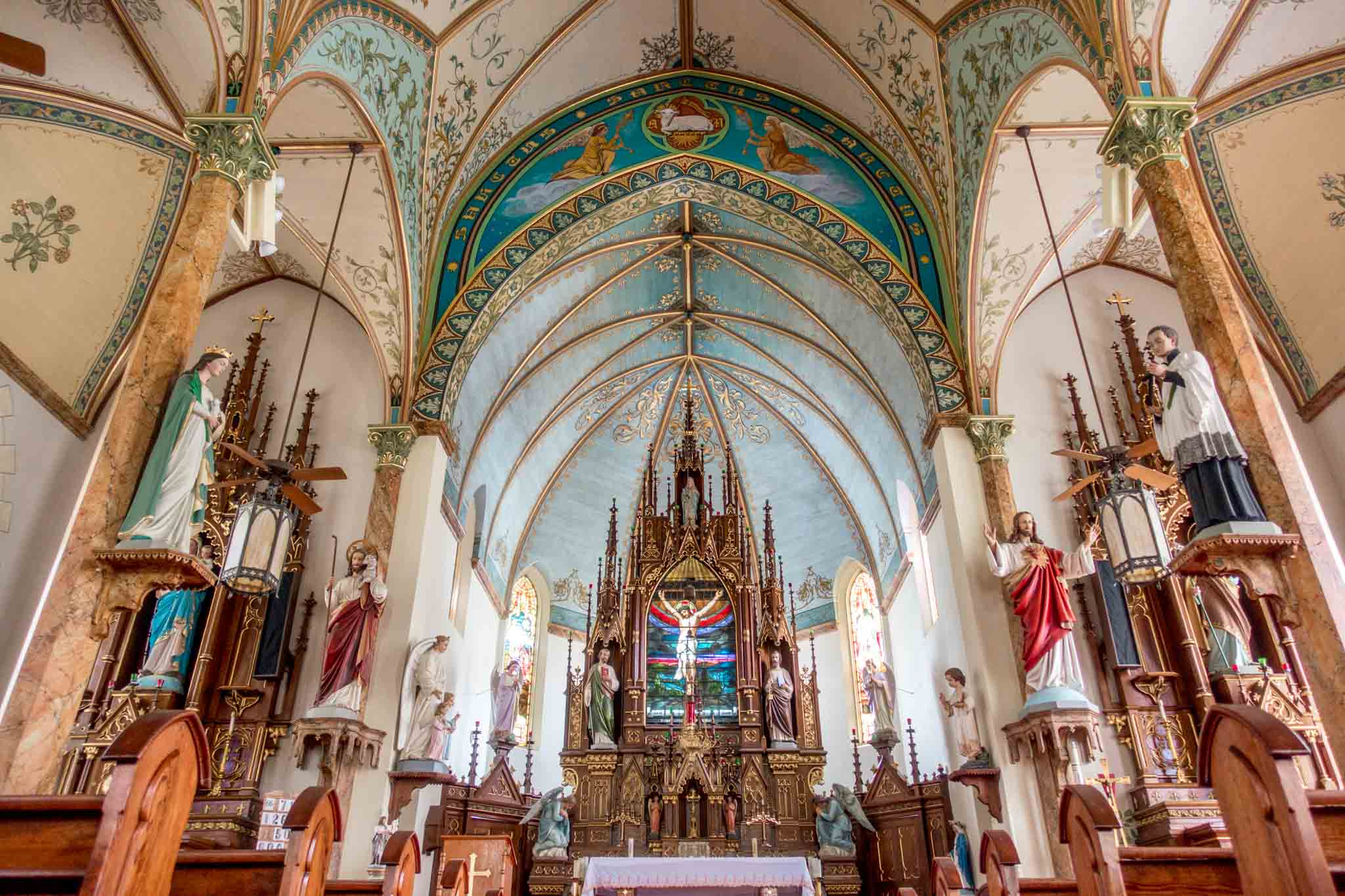 Sanctuary of St. Mary's Catholic Church in High Hill, one of the Schulenburg TX painted churches