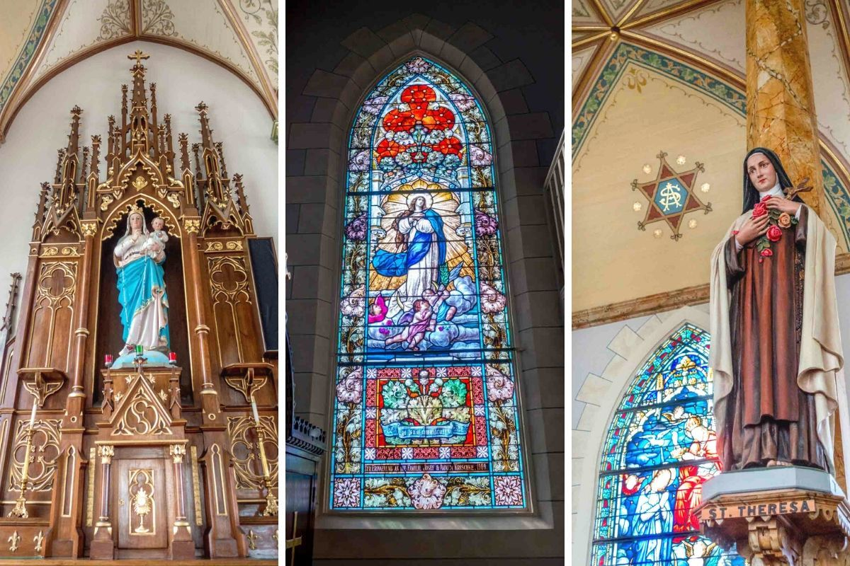 Religious statues and stained glass at church in High Hill, Texas