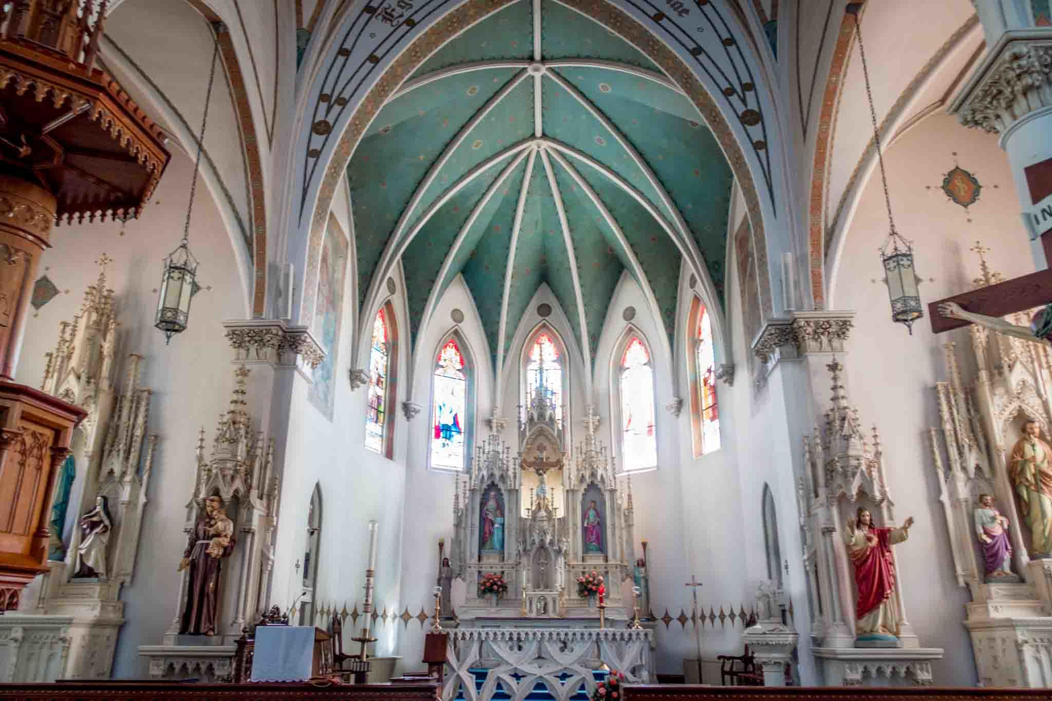 The sanctuary of the painted church, St. Marys Fredericksburg TX