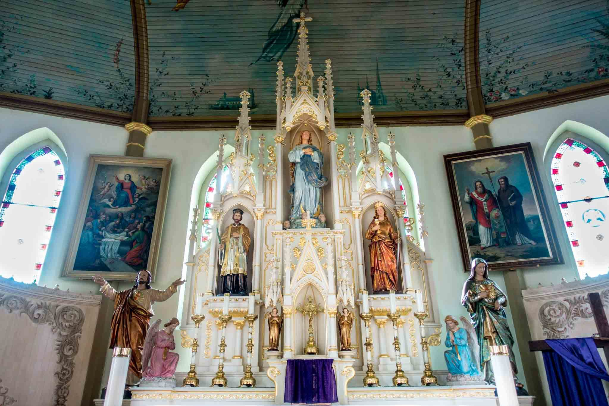Altar at one of the painted churches of Texas, St. Mary's Church of the Assumption in Praha TX