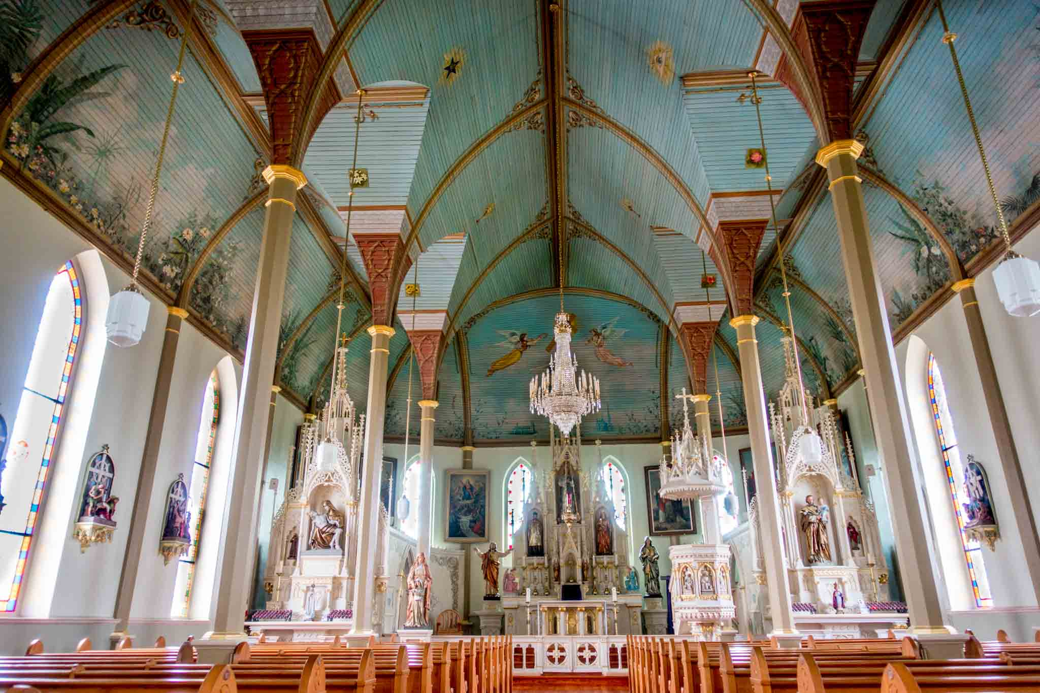 Beautiful sanctuary of the St Mary's Church of the Assumption, one of the Schulenburg Texas painted churches