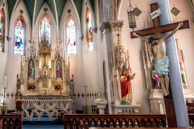 The sanctuary of St. Mary's Catholic  Church in Fredericksburg, Texas
