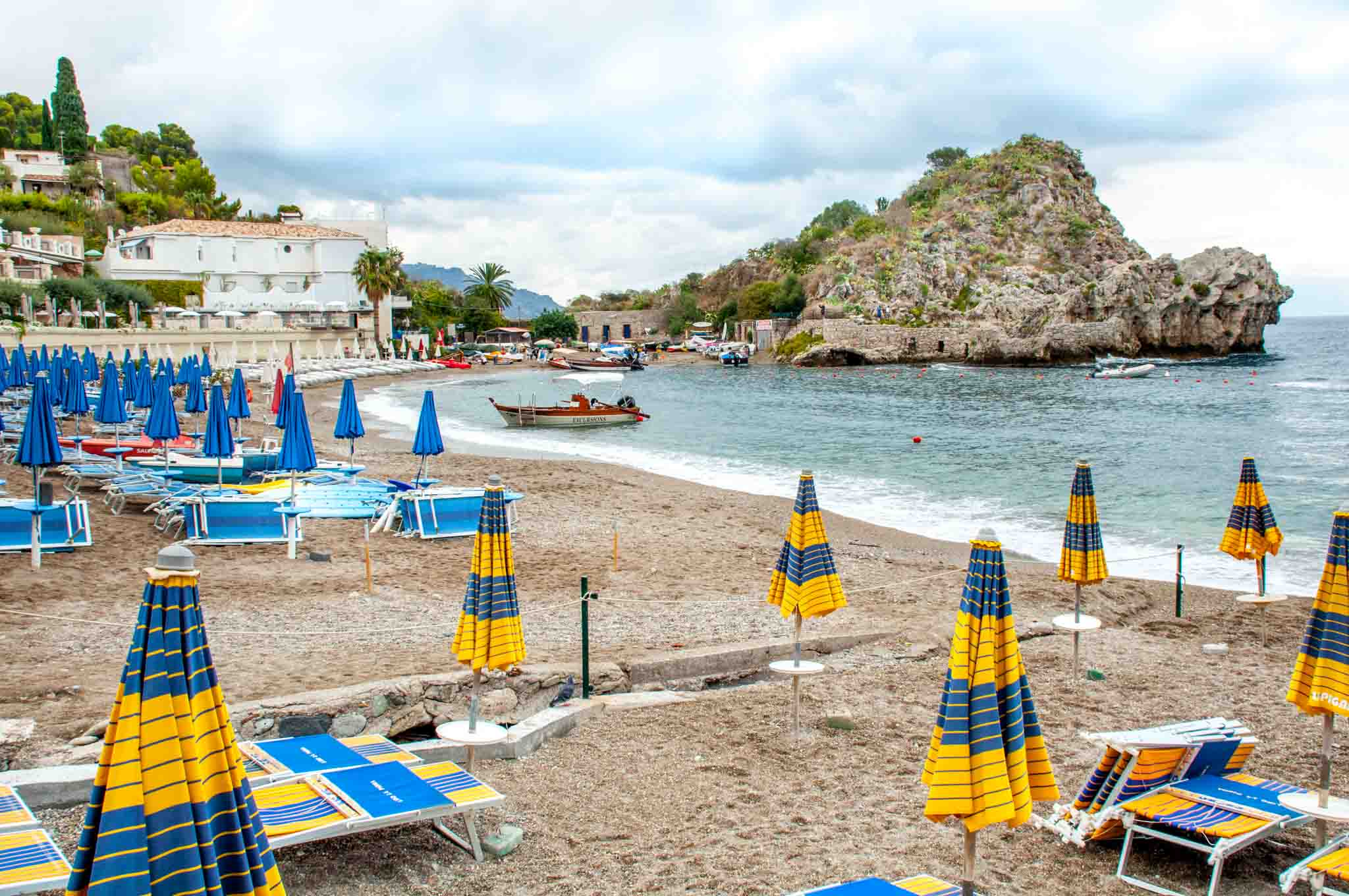 Umbrellas and chairs on the beach in Sicily