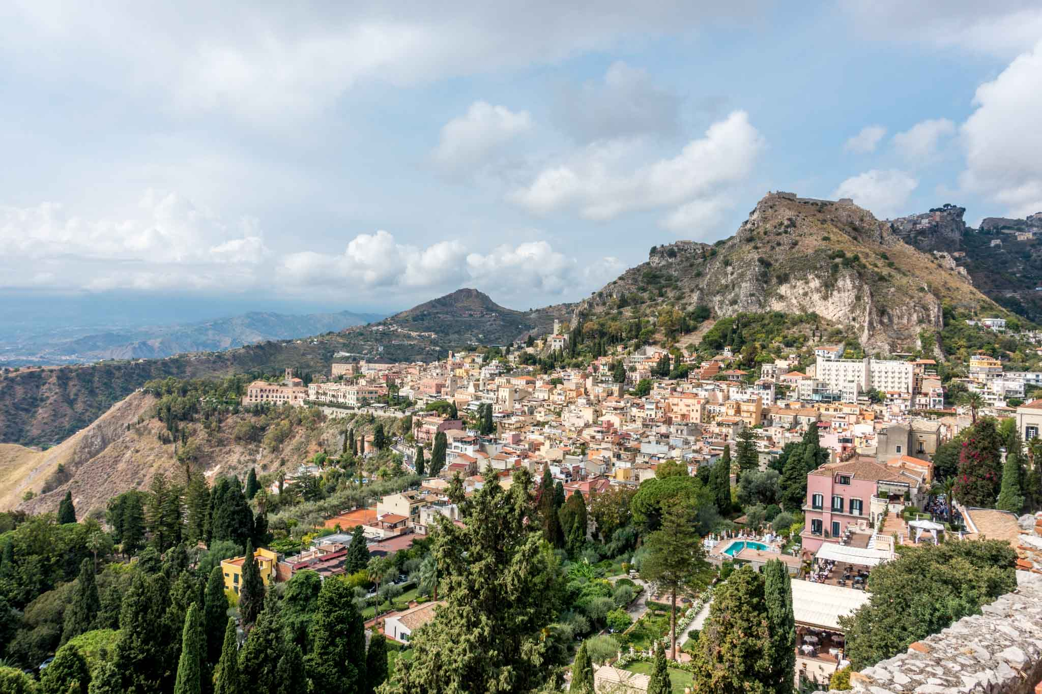 View Sicilian town from Taormina's Greek Theater