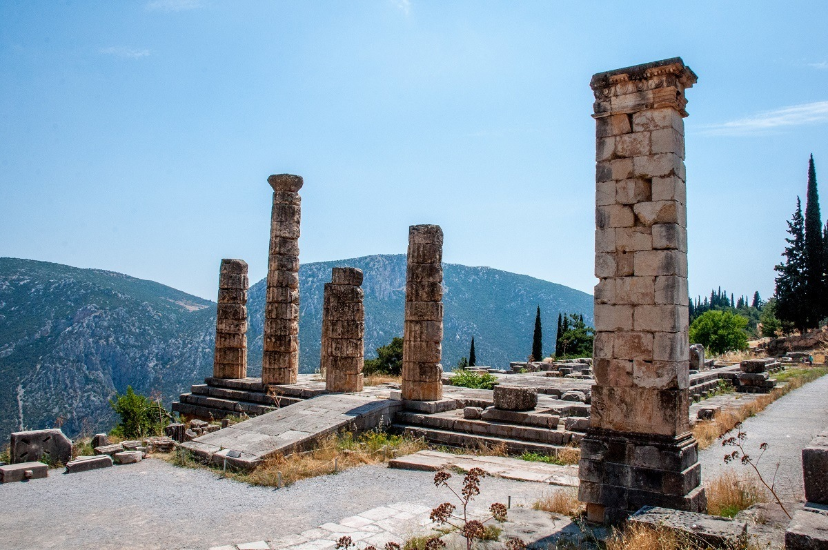 Temple of Apollo Delphi photos.  This is where the Oracle presided and translated for the god Apollo.  The Delphi location in the mountains also offers stunning views!