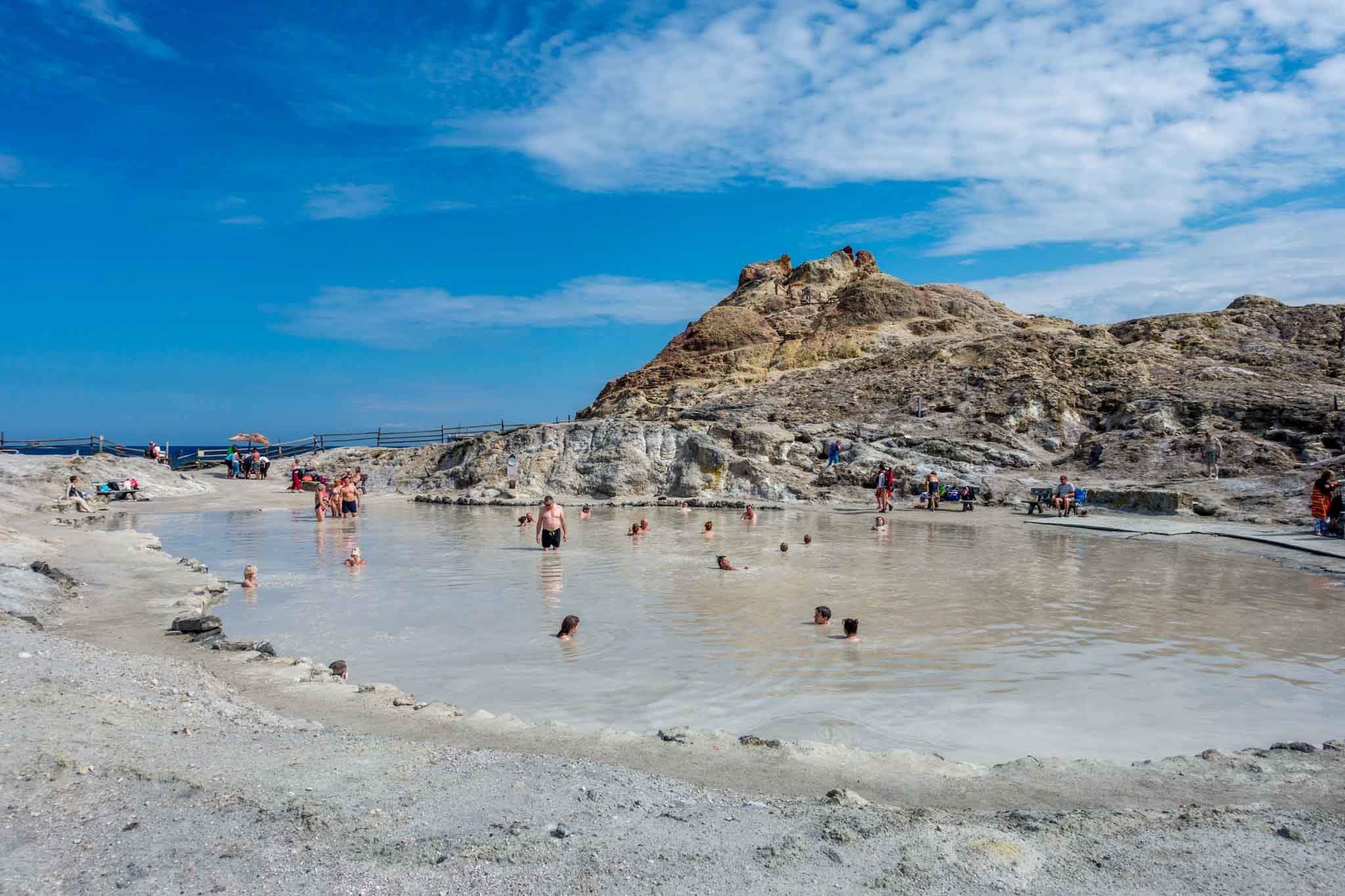 People in mud baths on the Aeolian island of Vulcano