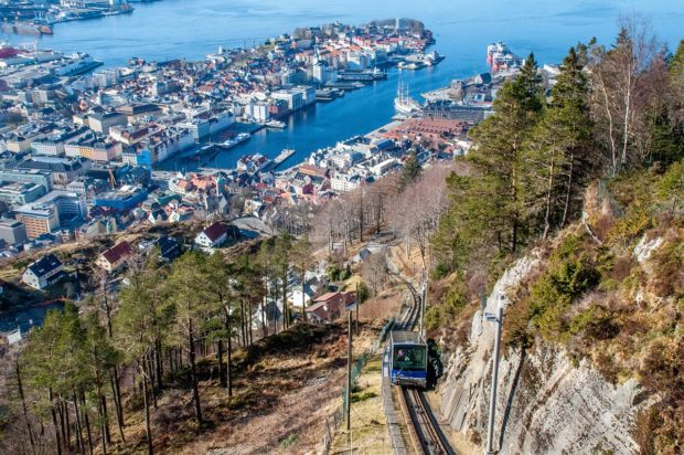 Bergen Norway winter travel should include a ride in the funicular up Mount Floyen