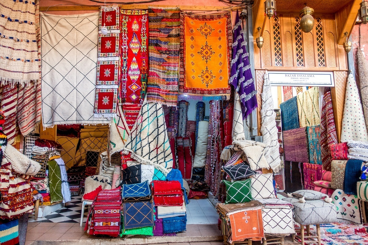 Rugs are one of the top souvenirs for people traveling to Morocco