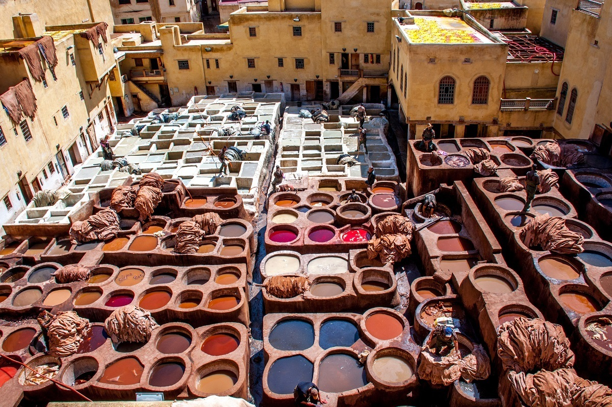 Bleach and dye wells at the Chouara tannery in Fes, a highlight of any Morocco vacation