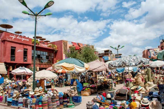 The spice souk in the medina in Marrakech is a lively place to visit when you travel to Morocco