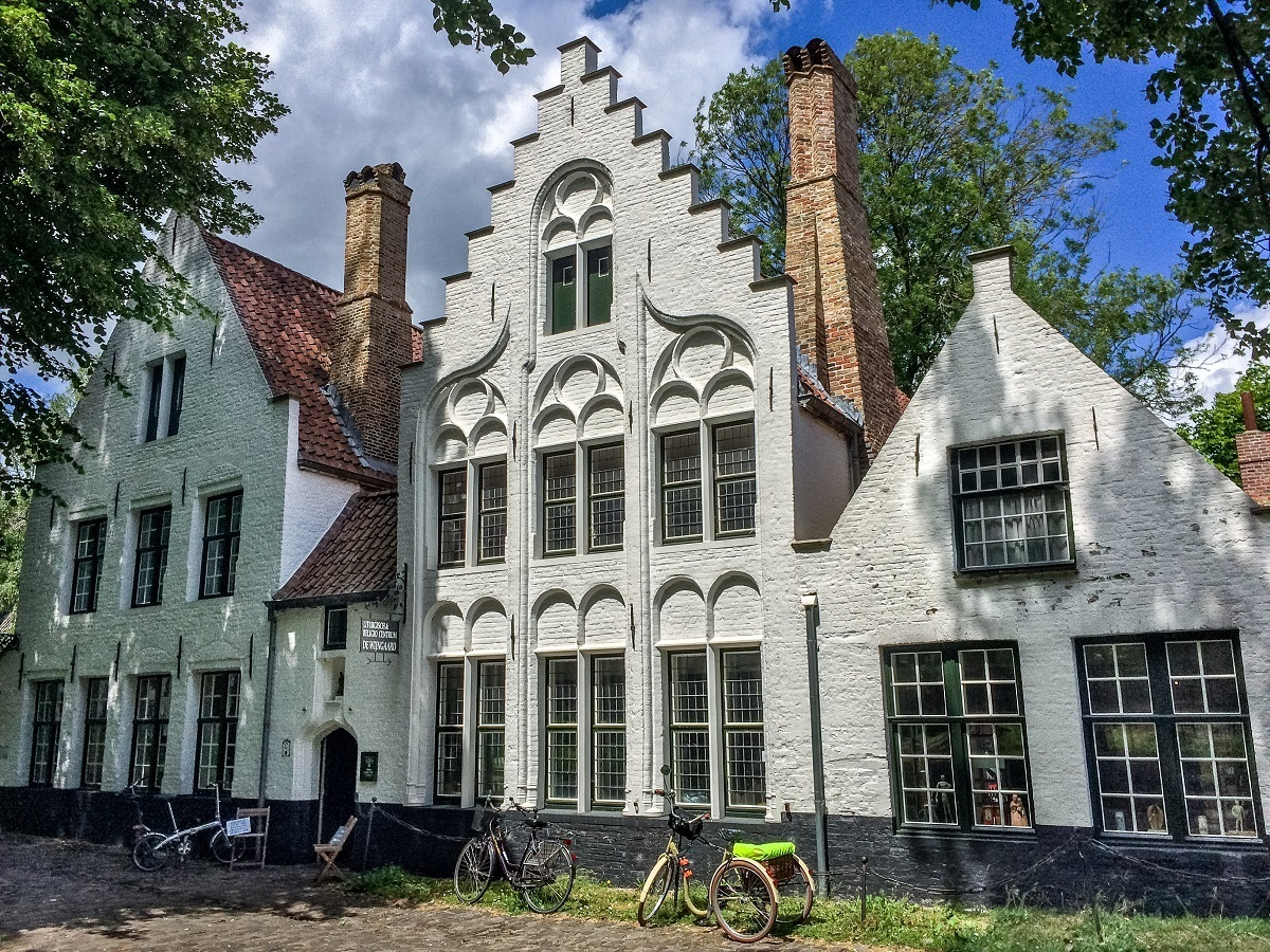 White buildings of the beguinage in Bruges