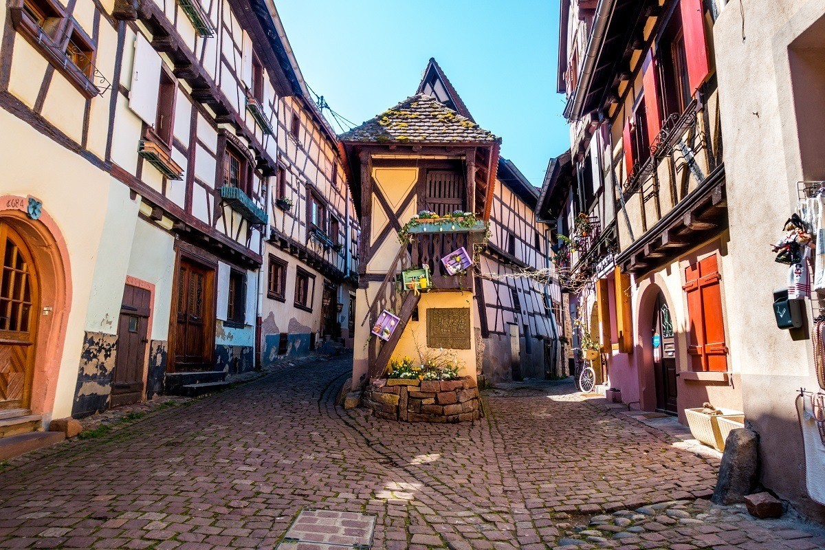 Streets of half-timbered buildings in Eguisheim in Alsace France