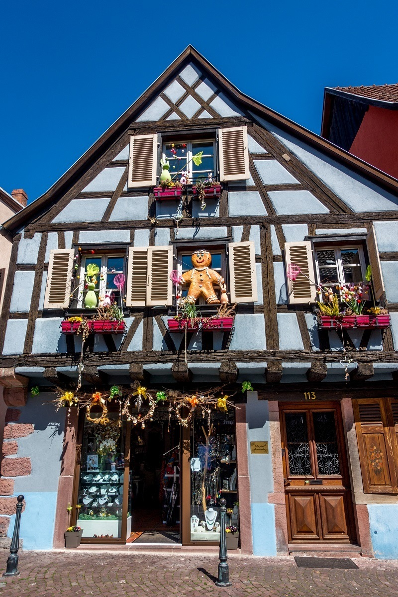 Kaysersberg is one of the prettiest towns in Alsace France, but they don't take themselves too seriously