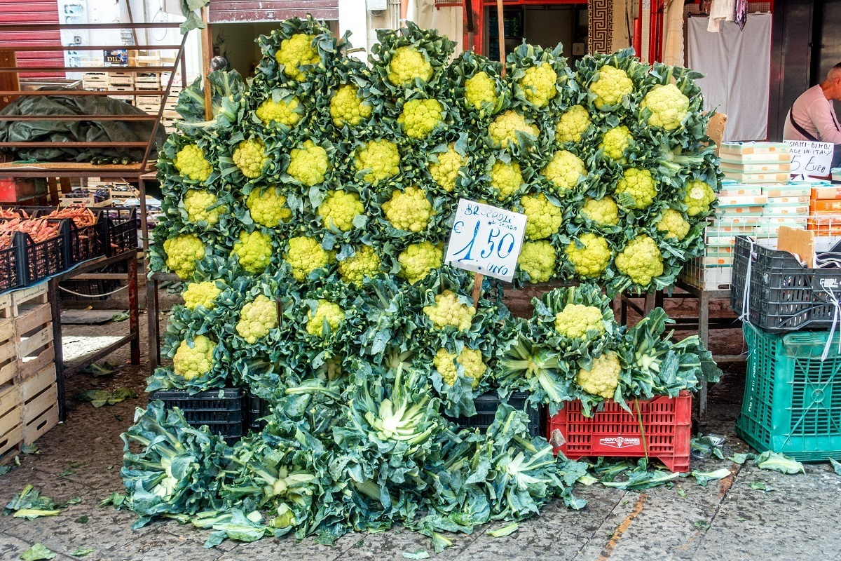 Broccoli on display along a wall in the Ballaro market in Palermo Sicily