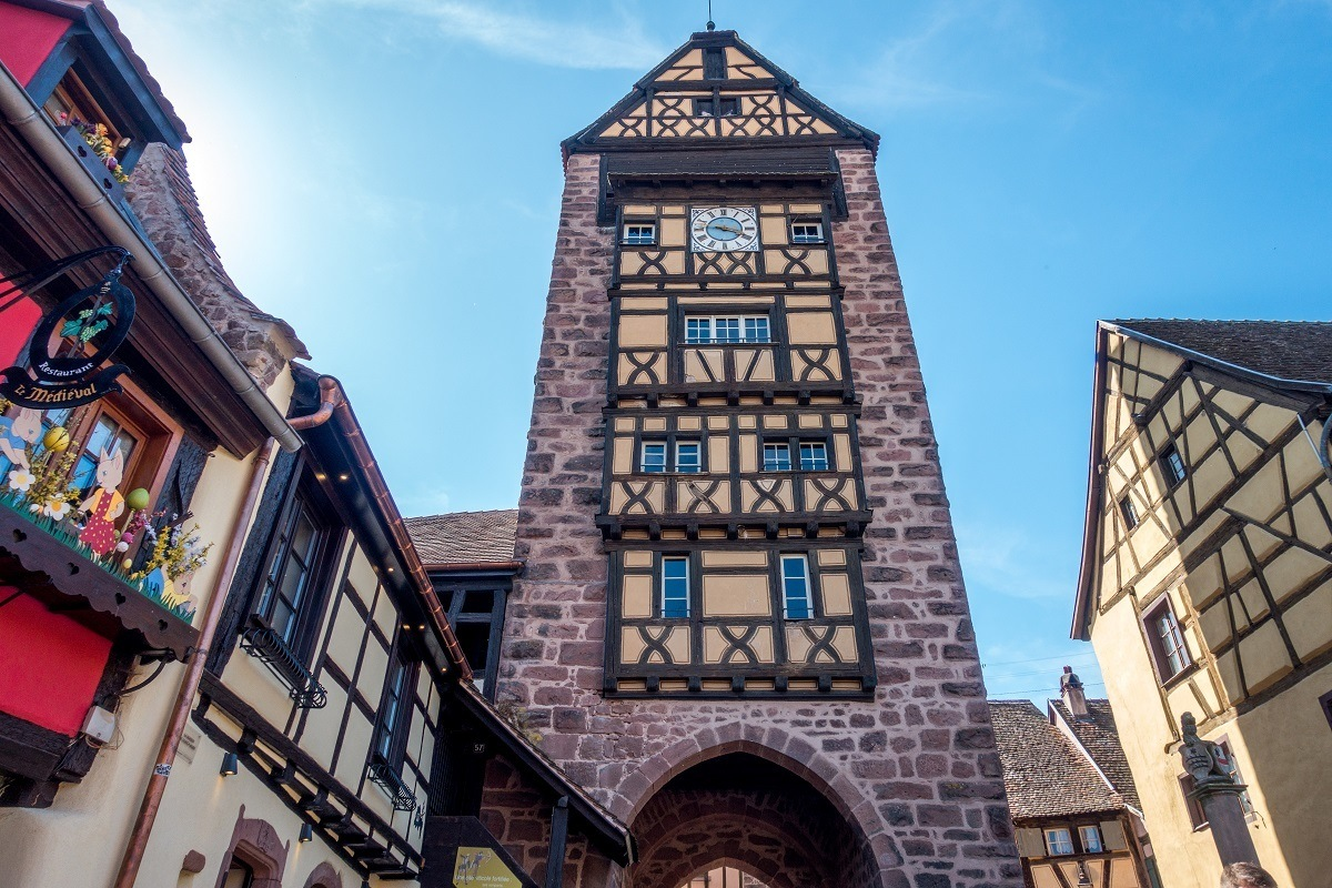 Stone guard tower in Riquewihr, Alsace