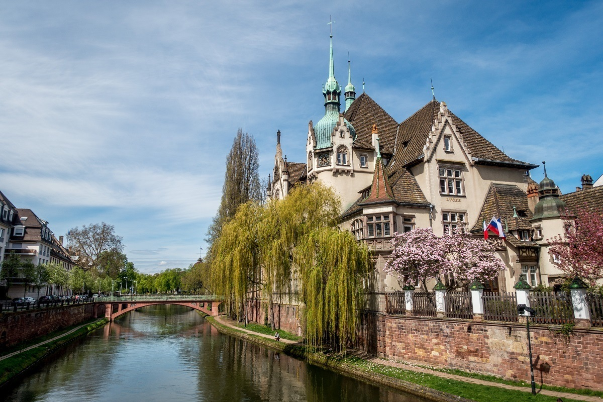 Canals lace through the historic center of Strasbourg in Alsace France